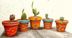 Cactus. Macetas pintadas a mano. Facebook: A'cha Pots. achapots@hotmail.com