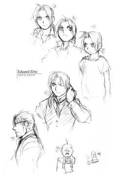 lamppu:    Edward Elric through the years - Sketches by Hiromu Arakawa