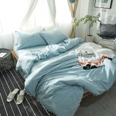 One of the Most Overlooked Systems for Blue Duvet Cover Set - homesdecoring Light Blue Bedding, Blue Comforter Sets, Dorm Bedding Sets, Blue Bed Covers, White Duvet Covers, Blue Rooms, Blue Bedroom, Bedroom Decor, Blue Bed Sheets
