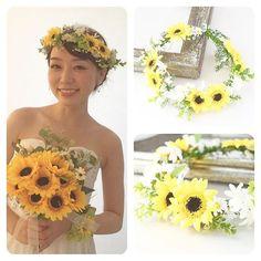 SUMMER WEDDING!! 向日葵の花冠&リストブーケ♡ #mekku #wedding #bridal #bride #marriage #headdress #headaccessory ...