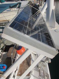 Solar panel mounted on sailboat