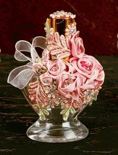 Pink Rose Victorian Perfume Bottle
