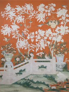 SY-231 GERANIUM GARDEN HANDPAINTED CHINESE SCENIC WALLPAPER ON A PIECED 18TH CENTURY STYLE ANTIQUED TOMATO RED GROUND. PANEL SIZE: 3' WIDE BY 10' HIGH (TWO PANELS SHOWN)