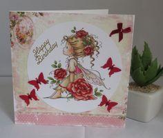 Geburtstagskarte Rosenmädchen, handgemacht von KartengalerieDoris auf Etsy Rose Girl, Red Butterfly, Handmade Birthday Cards, Lettering, Pearls, Etsy, Pink, Worth It, Ideas For Birthday Cards