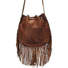 721-547 - Patricia Nash ''Carrera'' Oiled Leather Fringed Drawstring Cross Body Bag / back/  199.00
