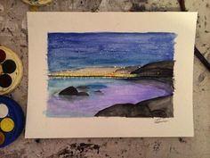Watercolour painting || Starry Sky Over River || by Ashleigh Hunter
