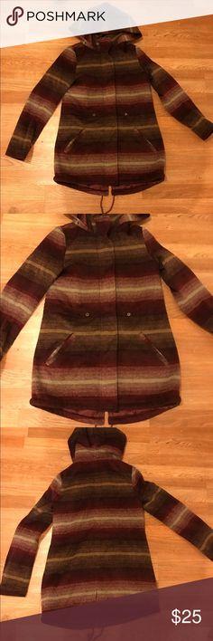 Burgundy hooded pea coat Great wool like burgundy jacket Jackets & Coats Pea Coats