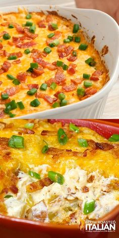 Cheesy potato bake kicked up about 12 notches. 3 cheeses, sour cream and bacon come together in this Fully Loaded Extreme Cheesy Potato Casserole to tantalize your taste buds. Rich, creamy and packed with ooey gooey cheese this simple recipe is a keeper! Loaded Baked Potato Casserole, Cheesy Potato Casserole, Potatoe Casserole Recipes, Loaded Baked Potatoes, Cheesy Potatoes, Quiche Recipes, Bacon Recipes, Cooking Recipes, Recipes