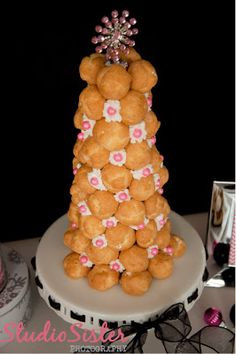 Holiday sparkle and cheer dessert buffet. Create this easy cream puff tree as the centerpiece to your holiday table— Pamela Smerker Designs