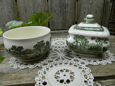 Rare Vintage Villeroy & Boch Rusticana Green Covered Sugar and Sugar Bowl - Germany by allthatsvintage56 on Etsy