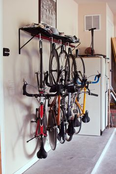 Bike Rack Photos and Bike Stand Photos - Ideas para interiores # bike . - Bike Rack Photos and Bike Stand Photos – Ideas de interior # bike # ideas amuebladas - Bicycle Storage Garage, Vertical Bike Storage, Bike Storage Rack, Diy Garage Storage, Garage Hooks, Bicycle Garage, Bike Racks For Garage, Outdoor Bike Storage, Wooden Bicycle
