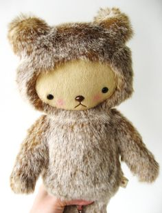 Kawaii Teddy Bear Plushie Speckled Gray and Brown by bijoukitty.