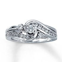 one of my favorites weaved and cradled 14k white gold 12 carat - Interlocking Wedding Rings