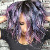 balayage metallique pastel bleu violet