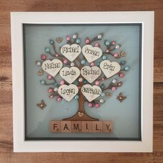 Personalised Box Frame Family tree Scrabble Gift Mothers Day Wedding Anniversary in Home, Furniture & DIY, Home Decor, Plaques & Signs Scrabble Letter Crafts, Scrabble Wall Art, Scrabble Frame, Crafts With Scrabble Tiles, Personalised Family Tree, Personalized Gifts For Men, Personalised Box, Box Frame Art, Box Frames
