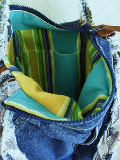 Upcycled Denim Tote Cargo Bag Recycled Blue Jeans by tropAcool, $72.00