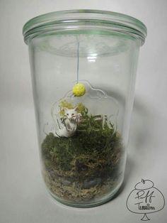 Cat with Yarn Ball Terrarium  Find us on Facebook :: puff terrariums #puff #terrarium #home #work #sky #decor #decoration #plant #cactus #garden #cat #puppy #wedding #centerpiece #green #moss #gift #DIY #crafts #art #cute #jar #happy #bottle #yolo #lol #hkig
