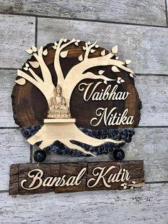 Creative Names, Creative Crafts, Wooden Name Plates, Name Plate Design, Name Plates For Home, Wood Logo, Wood Bark, Golden Tree, Clay Wall Art