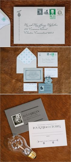Light bulb, green wedding invite