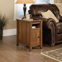 Finish off your living room decor with the Sauder Carson Forge Side Table. This high-quality side table is packed with functional features, including an adj End Tables With Drawers, Side Table With Storage, Wood End Tables, Table Storage, Cord Storage, Bar Tables, Drawer Storage, Top Drawer, Dining Tables