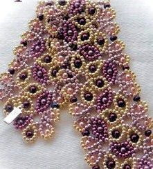 11/o seed beads and 3mm round pearls and 2.8mm Miyuki drop beads. From jayceepatterns.com, Juanita Carlos, one of the most talented and helpful designers out there, in my opinion.: