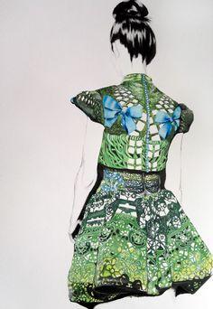 Mary Katrantzou green print fashion illustration