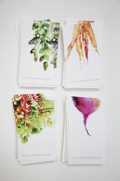 watercolor business cards, perfect for a creative or public relations major maybe not food though Design Web, Print Design, Design Cars, Smart Design, Logo Design, Business Card Design, Creative Business, Watercolor Business Cards, Watercolor Cards