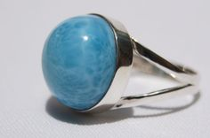 DOMINICAN AA+ MARBLED ROUND-SHAPED LARIMAR STONE SILVER RING SIZE 6.50 JEWELRY #DominicanLarimarStone #FashionRing