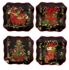 Amazon.com   Certified International Vintage Christmas 8-3/4-Inch Dessert Plate, Set of 4: Accent Plates