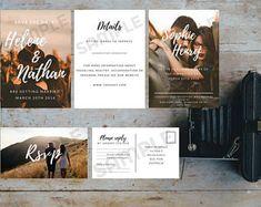 Romantic photo wedding invitation download