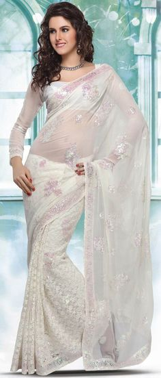 Off #White Faux #Chiffon and Net #Saree with #Blouse