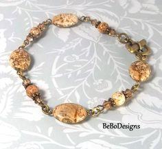 Picture Jasper Gemstone Bracelet with Swarovski Crystals by BeBoDesigns on Etsy