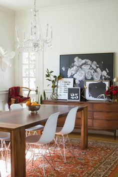 layered artwork in the dining room