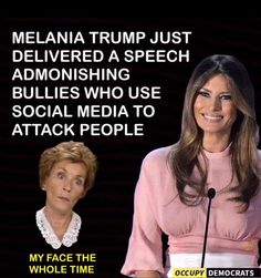 Listening to the BS she said made me want to Throw Up!! She knows her husband is the poster child for Mean, Nasty, Racist, Hateful, Womanizing and Degenerate!! Seriously??!!