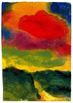 Emil Nolde, Green Landscape with Red Cloud