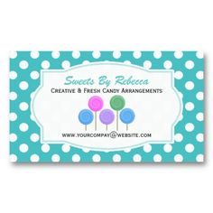 Blue And White Polka-dot: Candy Business Card