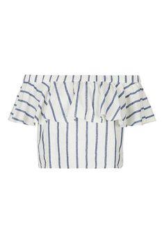 $55 PETITE Stripe Linen Bardot Top