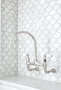 Karla Spencer - Our laundry - we just love these fish scale tiles. thanks to Art of Tiles Newtown, The English Tapwear Company & Cape Cod Home Additions Upstairs Bathrooms, Laundry In Bathroom, Bathroom Renos, Downstairs Bathroom, Cape Cod Bathroom, Mermaid Tile, Mermaid Bathroom, Bad Inspiration, Bathroom Inspiration