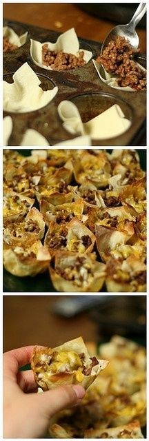 Mini tacos: Won ton wrappers in muffin tins. Fill with taco seasoned ground meat, cheese bake for 8 minutes at 350. Top with favorite taco toppings!.