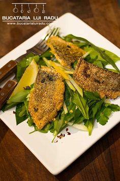 Dorada prajita in crusta aromata cu salata de leurda si cho-cho. Seafood, El Dorado, Sea Food, Seafood Dishes