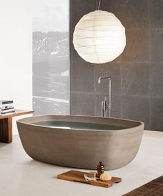 zen contemporary bathroom - stone wood paper - Inkstone bathtub by Italian neutradesign