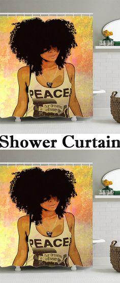 Hip Hop Afro Hair Girl Shower Curtain