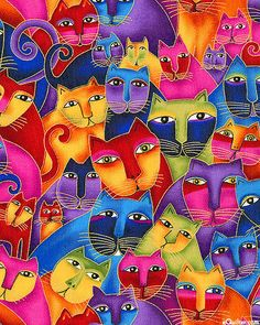 Fabulous Felines' collection, by Laurel Burch for Clothworks - Cat Fabric Cat Embroidery, Collage Kunst, Laurel Burch Fabric, Image Chat, Cat Quilt, Cat Fabric, Cat Colors, Bright Colors, Silk Painting
