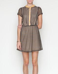 black + mustard striped dress