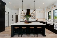 modern farmhouse kitchens Im so happy to be back this week with another installment of the 15 Most Beautiful series! Its all about the modern farmhouse kitchen this time, and Modern Farmhouse Style, Modern Farmhouse Kitchens, Black Kitchens, Home Kitchens, Kitchen Modern, Industrial Farmhouse Kitchen, Modern Farmhouse Interiors, Farmhouse Sinks, Vintage Kitchen