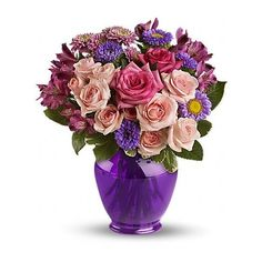Teleflora's Purple Medley Bouquet with Roses Flowers ($4.99) ❤ liked on Polyvore featuring home, home decor, floral decor, flowers, backgrounds, objects, filler, flower stem, purple flower bouquet and purple bouquets