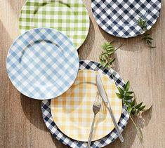 Gingham Salad Plate, Set of 4- Yellow