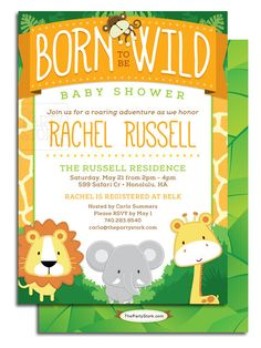 Safari Baby Shower Invitation, Printable Decorations available, Boy, Digital Born to Be Wild Birthday Party Invite, DIY file, L2P-SA02 on Etsy, $15.00