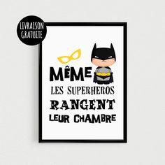 """POSTER de superhéro """"Même les superhéros rangent leur chambre"""" Affiche de citation de super-héros chauve souris noir et jaune pour enfant. Cadeau idéal pour un enfant, à di - 18227887"""