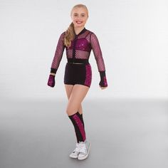 5723b1a62b9 1st Position Glitter Mesh Jacket with Sequin Crop Top and Shorts Street  Dance